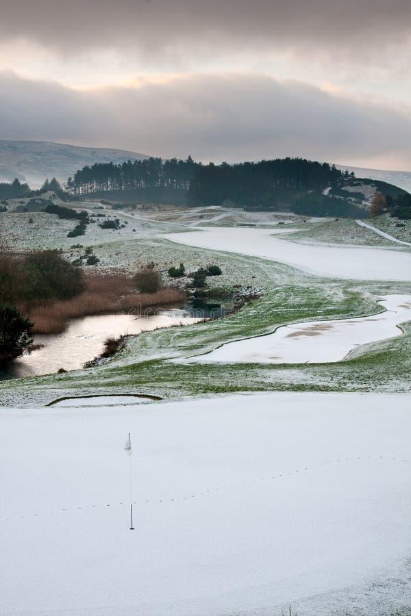 kursowego golfowego ranek śnieżna zima zdjęcie royalty free