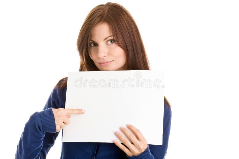 Kursteilnehmer, der auf Blatt zeigt lizenzfreie stockfotos