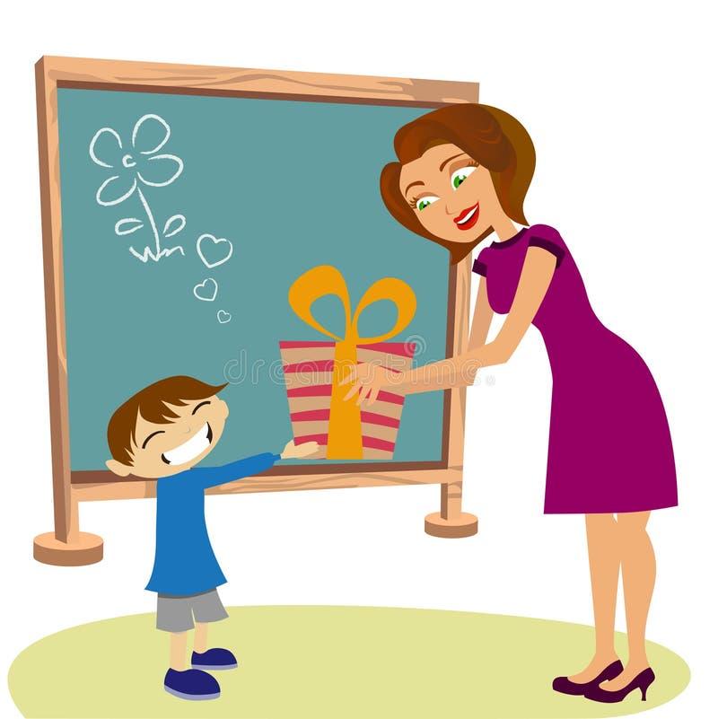 Kursteilnehmer, der Geschenk ihren Lehrer gibt lizenzfreie abbildung