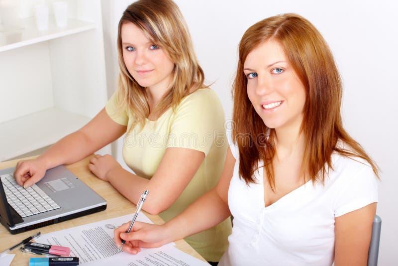 Kursteilnehmer, die am Schreibtisch erlernen stockfotos