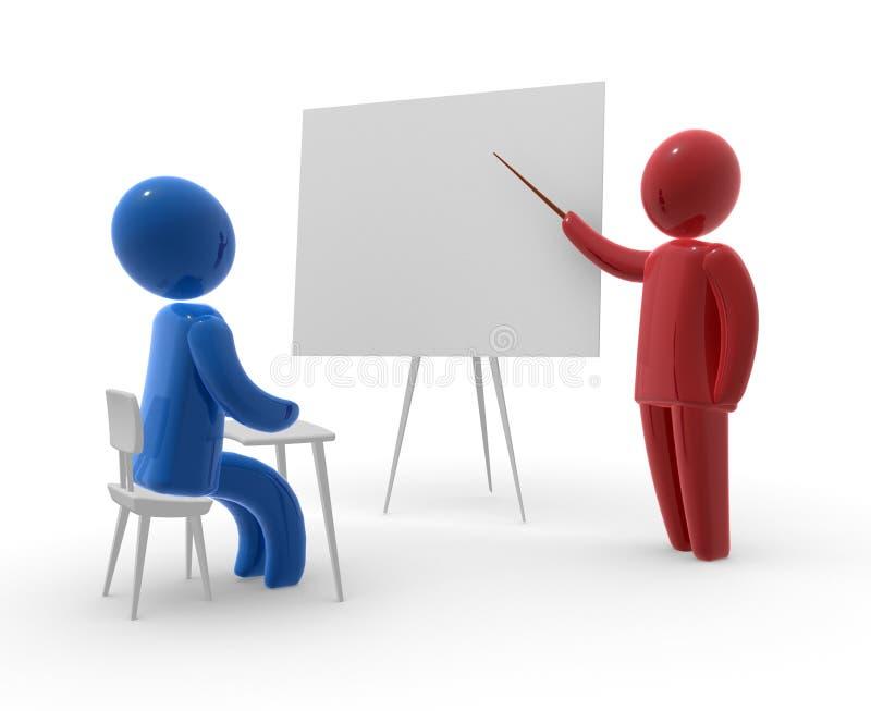 Kursteilnehmer und Lehrer lizenzfreie abbildung