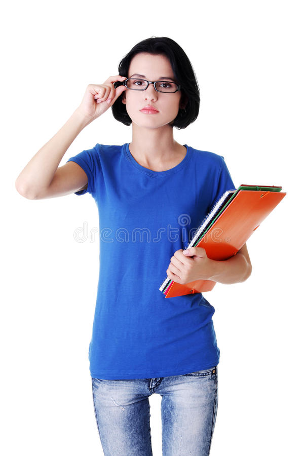 Download Kursteilnehmerfrau Mit Notizbüchern Stockbild - Bild von attraktiv, getrennt: 27729307