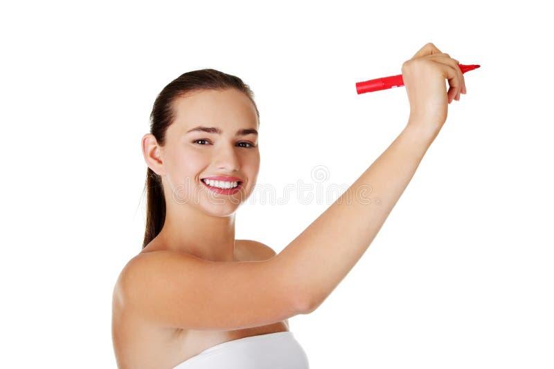 Download Kursteilnehmerfrauenschreiben Auf Abstraktem Bildschirm Stockbild - Bild von konzepte, darstellung: 27730477