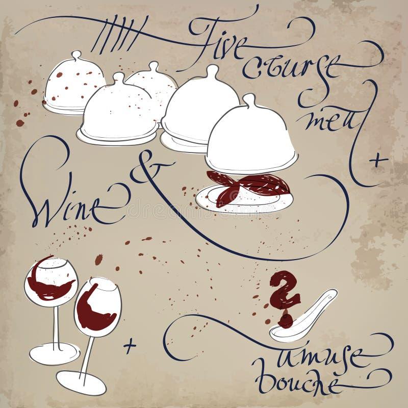 Kursu posiłek z śmieszy bouche i wino ilustracja wektor