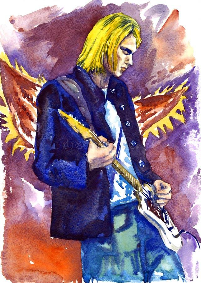Kurt Cobain, Nirwanaführer mit Gitarre auf Stadium, Engel beflügelt Hintergrund lizenzfreie abbildung