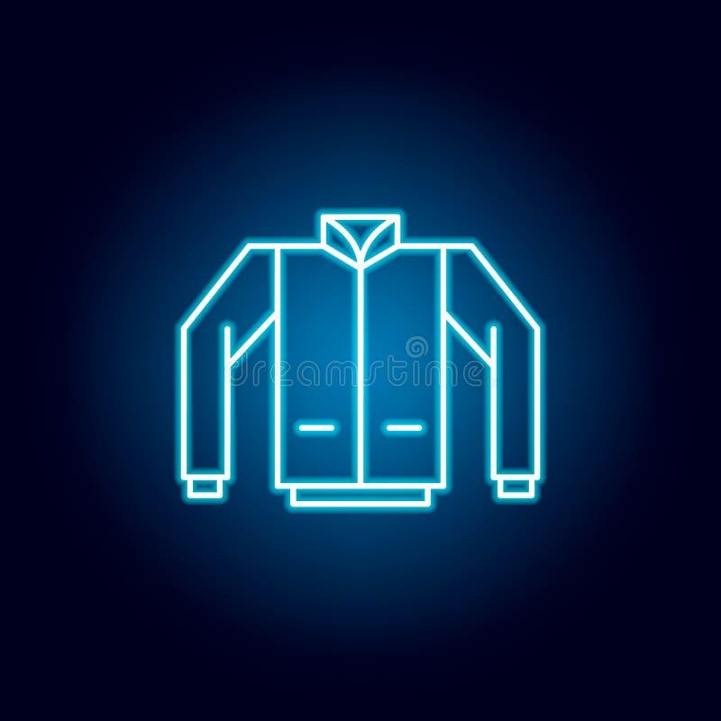 kurtka, płaszcz, jednolita kontur ikona w neonowym stylu elementy edukacji ilustracji linii ikona znaki, symbole mogą używać dla ilustracji