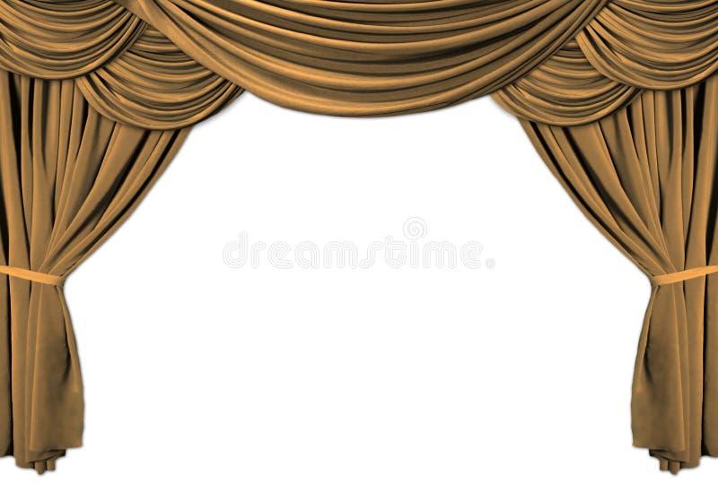 kurtyna drapujący scena teatru złoto ilustracja wektor