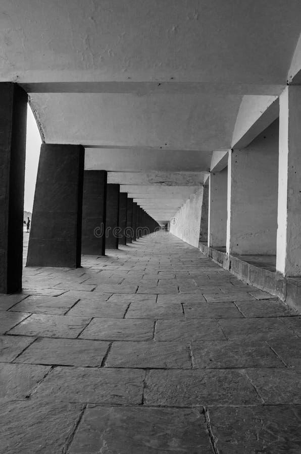 KURUKSHETRA, HARYANA, INDIA. 19 JUNE 2016 - monochrome picture of the passage along the holy tank stock images