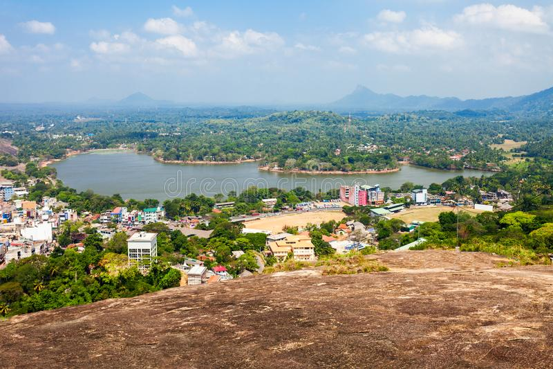 Kurunegala湖和城市 免版税库存图片