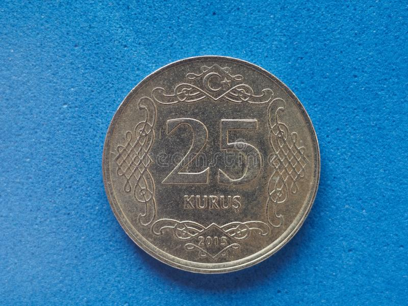 25 Kurus cents coin money. TRY, currency of Turkey royalty free stock images