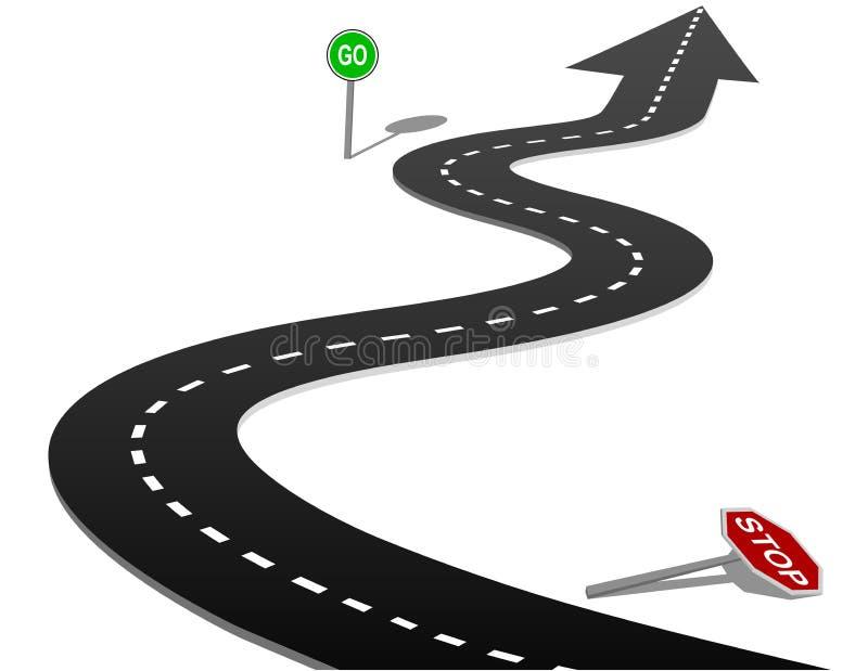 kurvan går framgång för stoppet för huvudvägprogresstecknet royaltyfri illustrationer