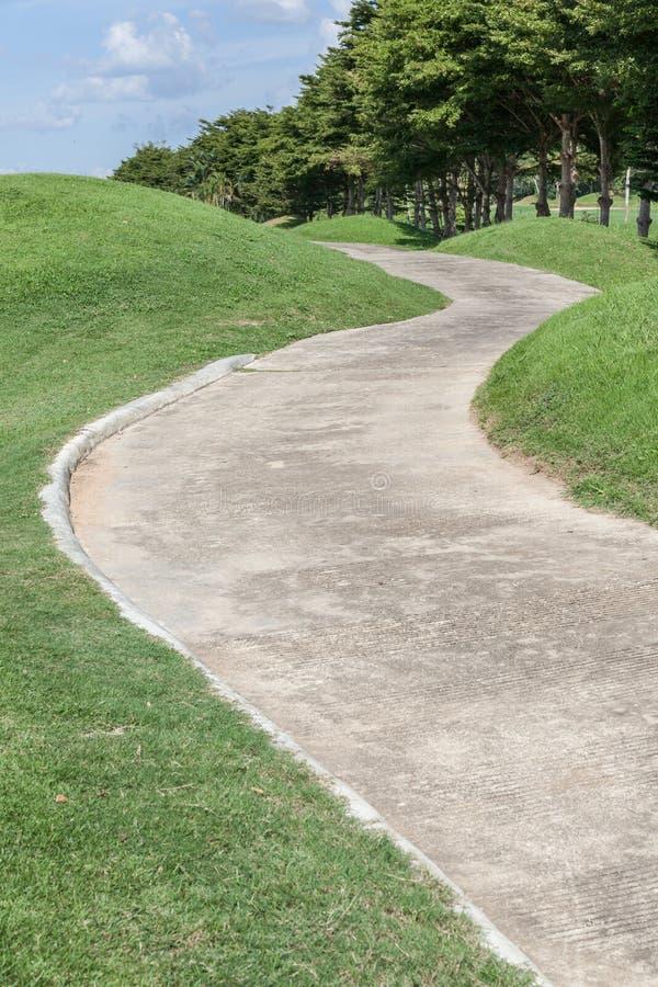 Kurven des grünen Golfplatzes der Bahn und der schönen Naturszene stockfotografie