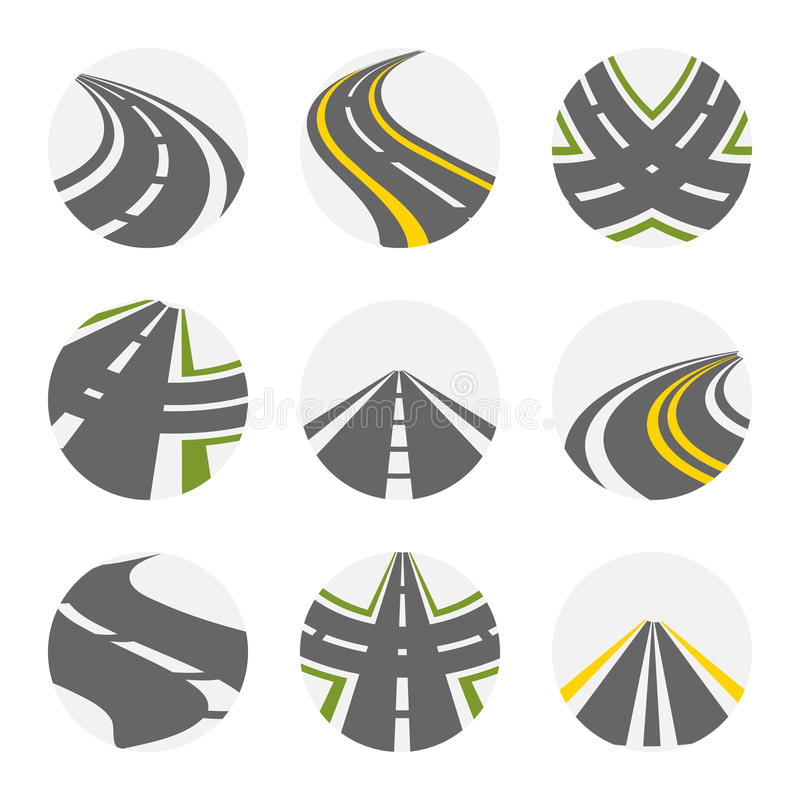 Kurven des Straßen-Vektor-Satzes Straßen Logo Set In Grey Colour mit lokalisierten Curvy Vorstadtstraßen-Bildern mit Gabel dreht  stock abbildung