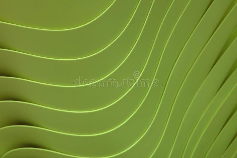 Kurven Sie die Linien von angehäuft herauf grüne Farbplastikschüsseln stock abbildung