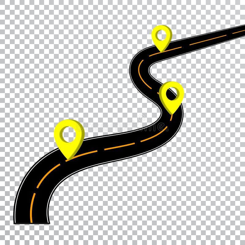 Kurvenreiche Straße lokalisierter transparenter Spezialeffekt Fahrweg-Standort Infographic-Schablone mit Pin Pointers Vektor lizenzfreie abbildung