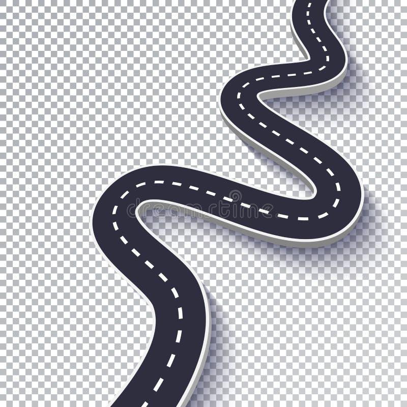 Kurvenreiche Straße lokalisierter transparenter Spezialeffekt Infographic Schablone des Fahrwegstandorts ENV 10 stock abbildung