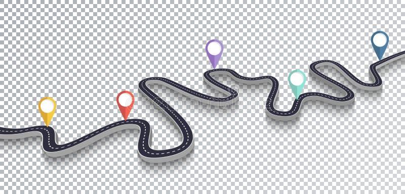 Kurvenreiche Straße lokalisierter transparenter Spezialeffekt Infographic Schablone des Fahrwegstandorts ENV 10 lizenzfreie abbildung