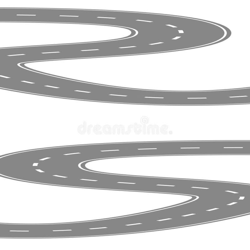 Kurvenreiche Straße oder Landstraße mit der Mittelkarikaturillustration kurven lokalisiert auf Weiß vektor abbildung