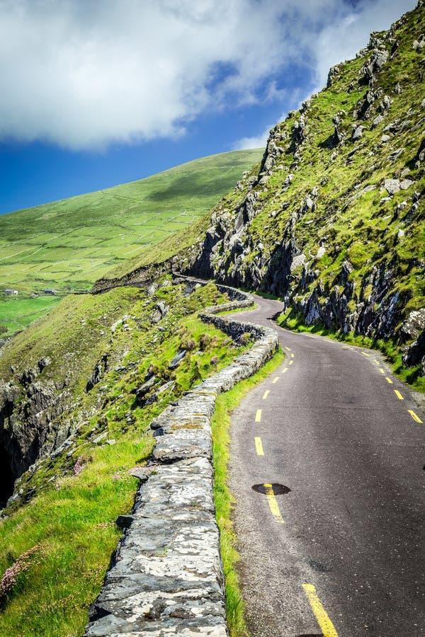 Kurvenreiche Straße zu Slea-Kopf, um Dingle-Halbinsel, Irland lizenzfreie stockfotografie