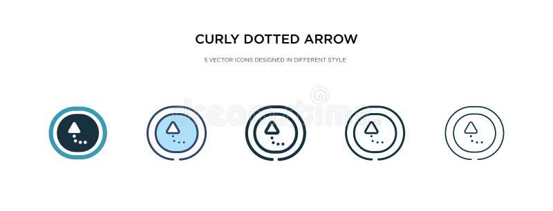 Kurz gepunktetes Pfeilsymbol in verschiedenen Stilvektorbildern zwei farbige und schwarze, lockig gepunktete Pfeilsymbole, die in stock abbildung