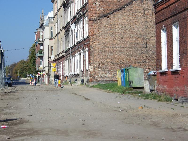 Neglected street in Gdansk stock image
