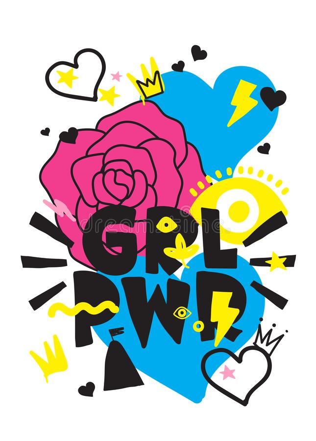 Kurzschlusszitat GRL PWR Zeichnungsillustration der Mädchen-Energie nette Hand lizenzfreie abbildung