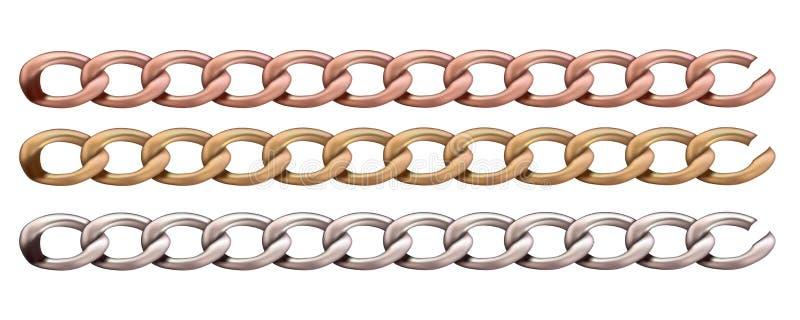 Kurzwarenzusätze Gesetzte Metallkette vektor abbildung