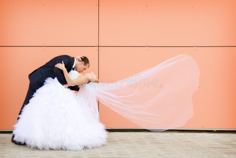 Kus van bruid en bruidegom stock foto's