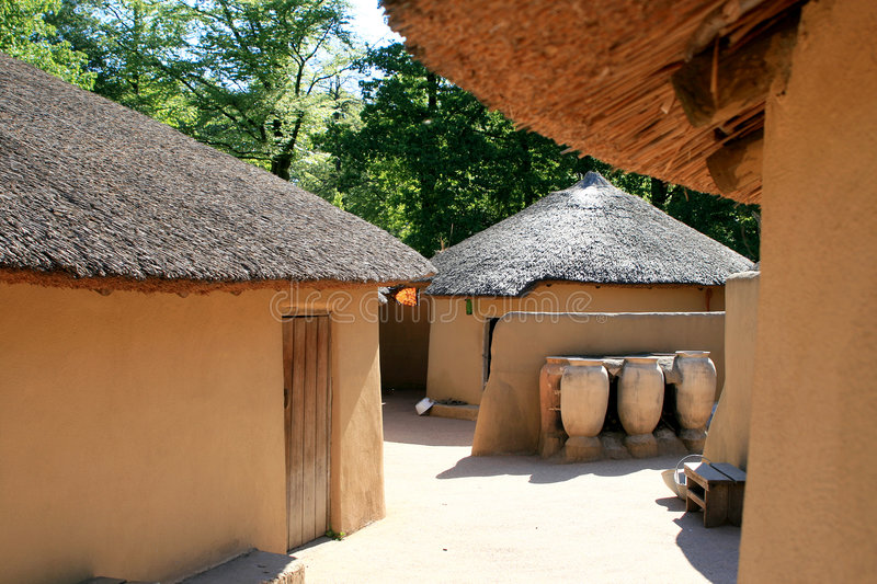 Kusasi houses of Ghana. Houses like these can be found in Tempane, in the north-east of Ghana. Traditional elements are the roundings and the failure of a door stock images