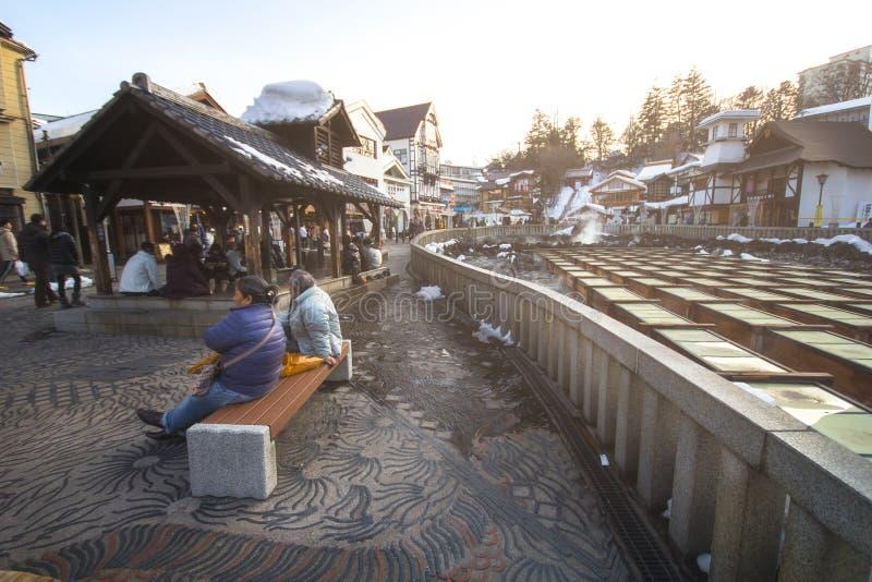 Kusatsu Onsen是一个日本` s多数著名温泉手段和保佑与优质温泉水的大容量 免版税图库摄影