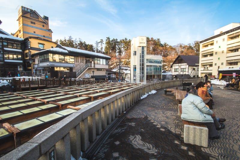 Kusatsu Onsen是一个日本` s多数著名温泉手段和保佑与优质温泉水的大容量 库存图片