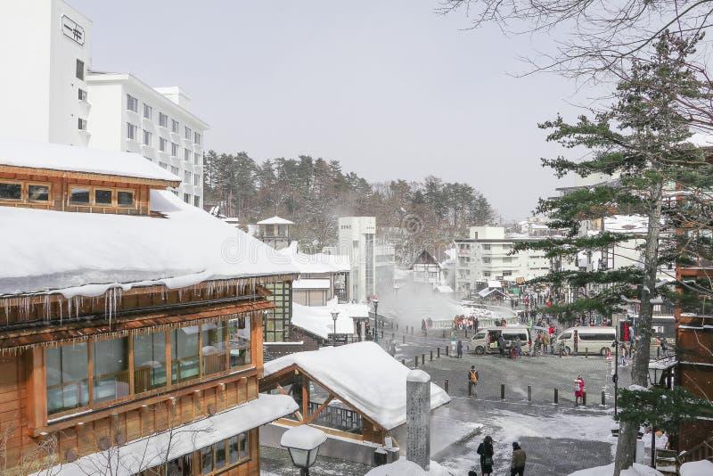 Kusatsu Onsen är en semesterort för varm vår som lokaliseras i Gunma Prefectu royaltyfri bild