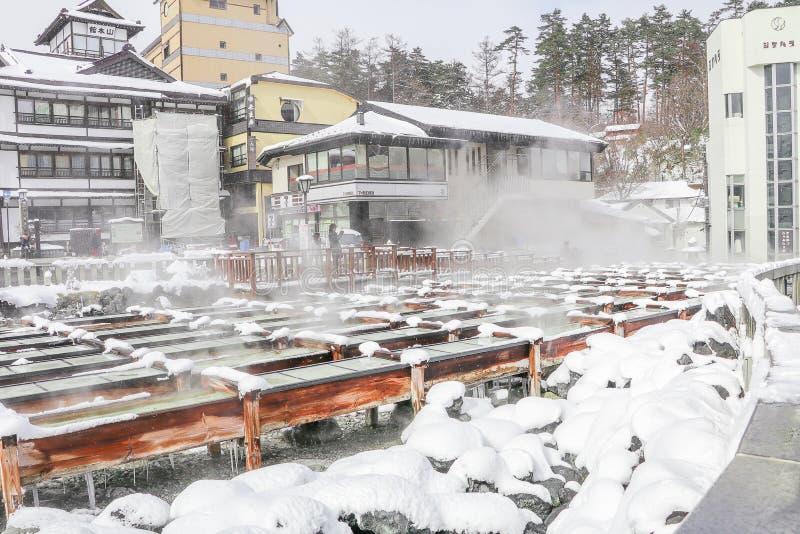 Kusatsu Onsen är en semesterort för varm vår som lokaliseras i Gunma Prefectur royaltyfria bilder