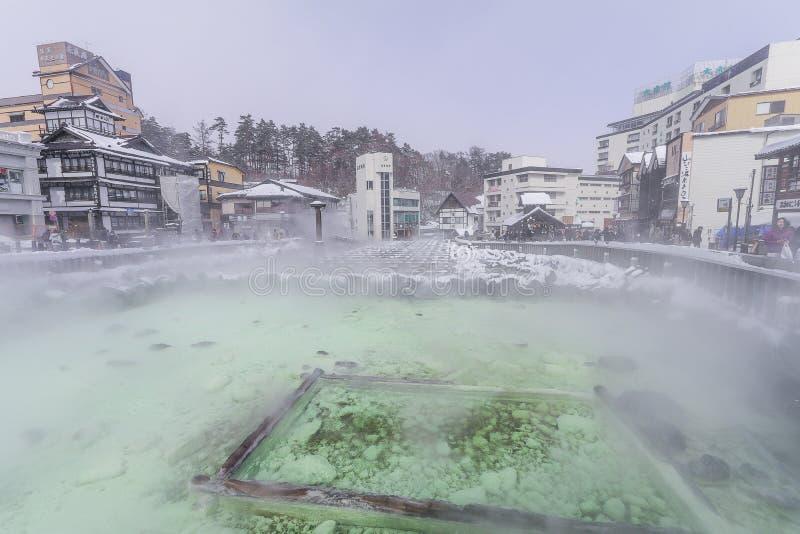 Kusatsu Onsen es un centro turístico de las aguas termales situado en Gunma Prefectu imagenes de archivo