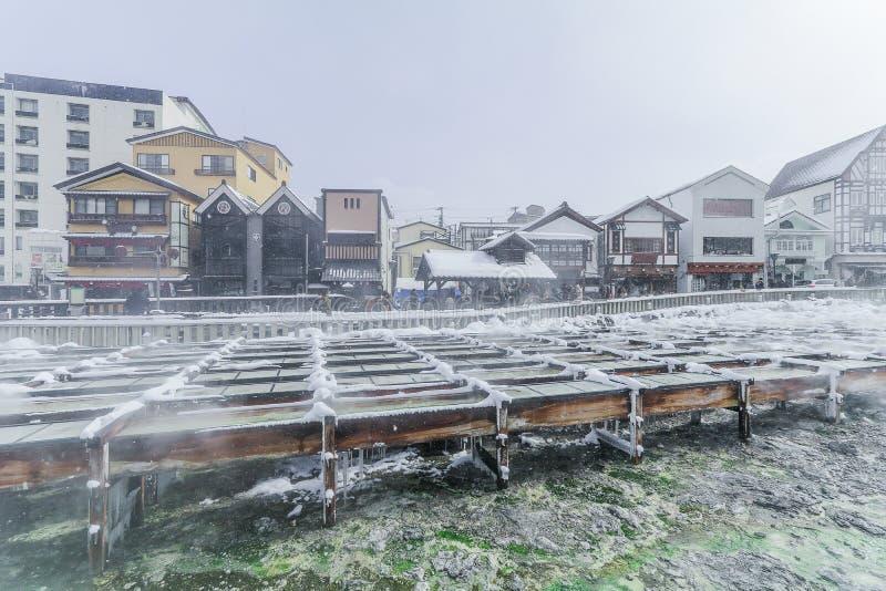 Kusatsu Onsen es un centro turístico de las aguas termales situado en Gunma Prefectu fotografía de archivo