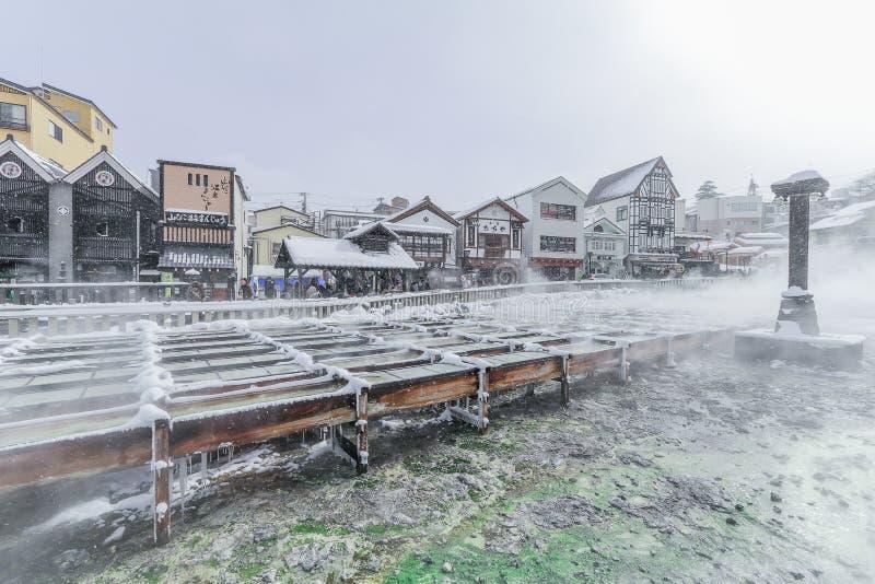 Kusatsu Onsen es un centro turístico de las aguas termales situado en Gunma Prefectu foto de archivo