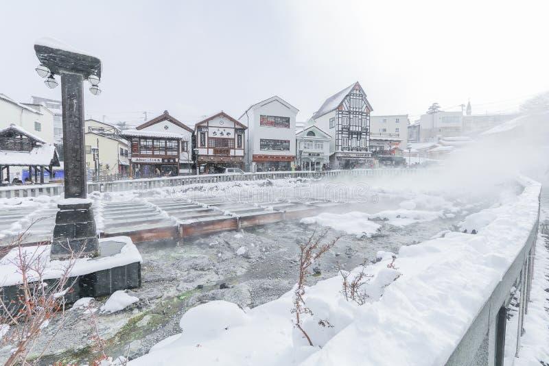 Kusatsu Onsen ist ein Erholungsort der hei?en Quelle, der in der Pr?fektur Gunma Japan, eine der Spitzendrei hei?en Quellen in Ja lizenzfreie stockfotografie