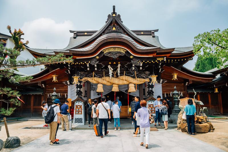 Kushida-jinja日本人寺庙在福冈,日本 免版税库存图片