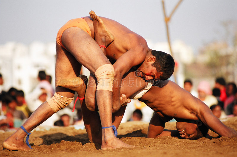 Kushti fight, India. Maharasthra state kushti (indian traditional wrestling style) tournament in Nagpur city stock images