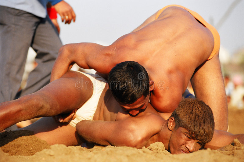 Kushti tournament. Maharasthra kushti championship semi-final in Nagpur city. Kushti is Indian traditional wrestling style. February 2008 Nagpur, Maharasthra royalty free stock image