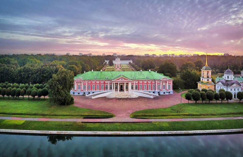 Kuskovo庄园鸟瞰图日出的在莫斯科 库存图片