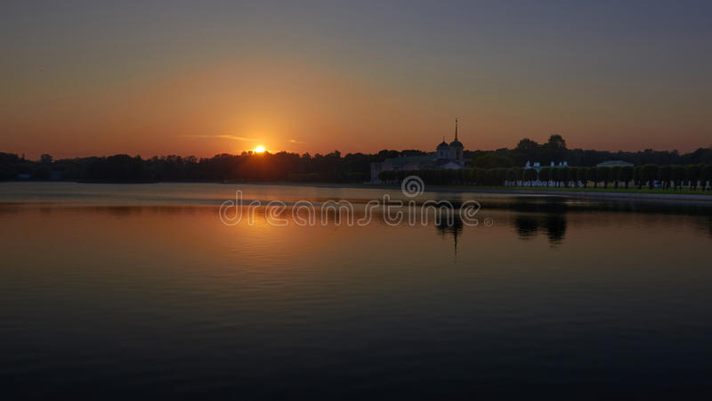 Kuskovo gods på solnedgången arkivfoto