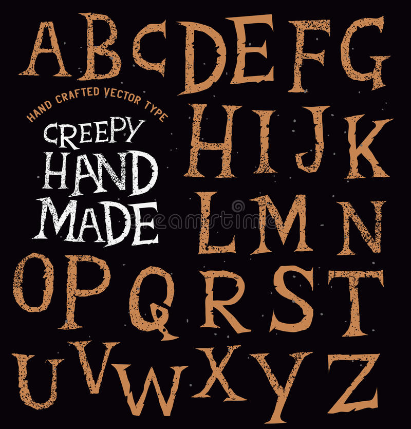 Kuslig forntida handgjord bokstäver royaltyfri illustrationer