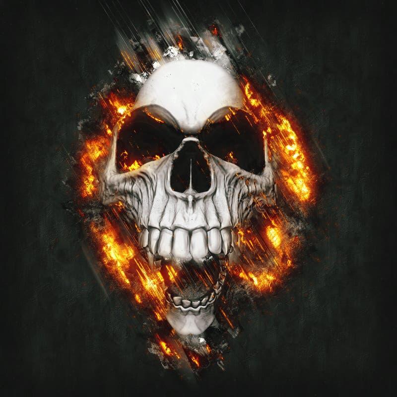 Kuslig le skalle som exploderar från metallbakgrunden stock illustrationer