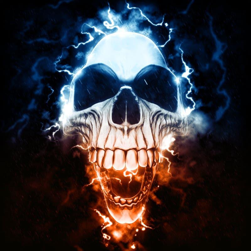 Kuslig punkrockskalle - storm och blixt royaltyfri illustrationer