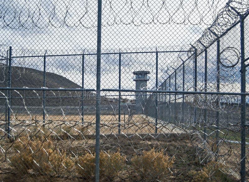 Kuslig sikt, historiska Nevada State Prison, Carson City royaltyfri fotografi