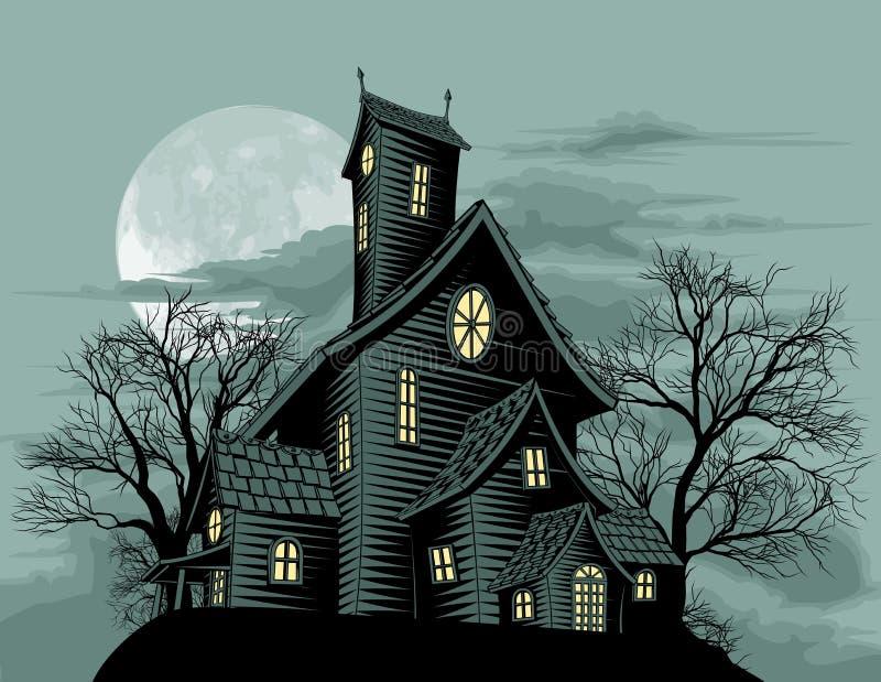 kuslig spöke spökad husillustrationplats royaltyfri illustrationer