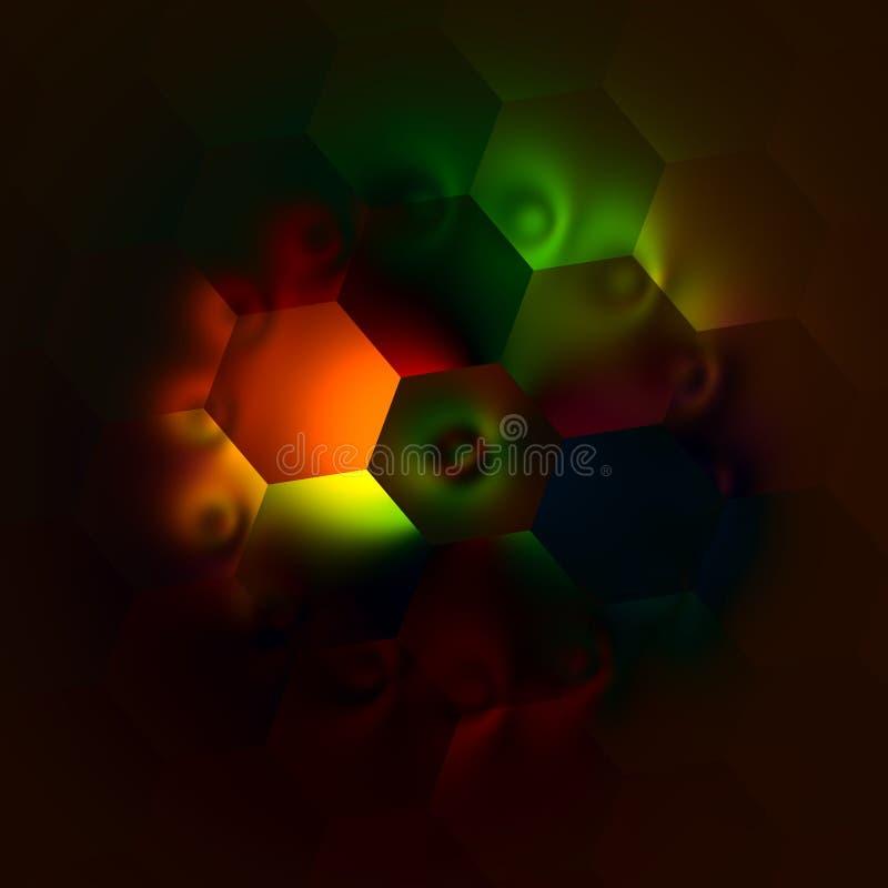Kusliga konstnärliga Colorfully Backlit sexhörningar abstrakt färgrik illustration härlig lampa för bakgrund Mörk dekorativ mosai stock illustrationer
