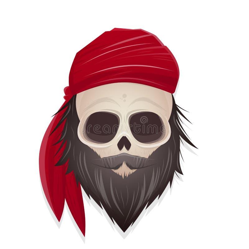 Kusligt piratkopiera skalleillustrationen royaltyfri illustrationer