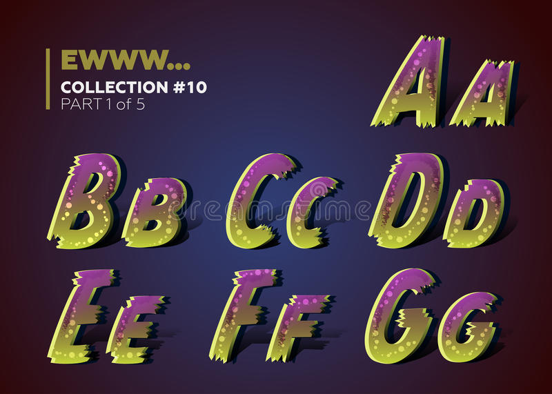 Kusligt trasigt typsatt för allhelgonaaftonparti alfabet 3D i läskig tecknad filmstil royaltyfri illustrationer